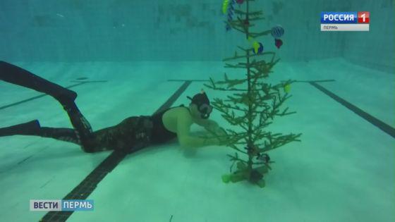 Пермские дайверы нарядили подводную елку