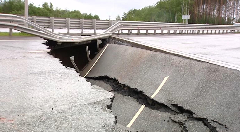 Натрассе Пермь— Екатеринбург смыло мост